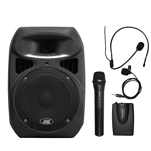 Audio 2000s AWP6408L 50W 8'' Dual Channel Wireless Microphone Portable PA System with Handheld, Headset & Lapel Mics by Audio 2000S
