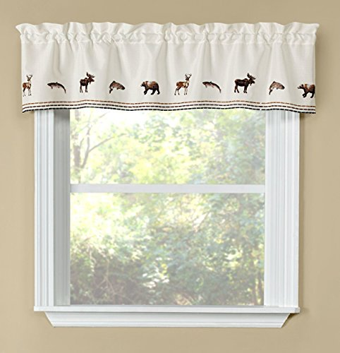 Woodland Cabin Lodge Wildlife Animals Window Valance, Modern Rustic, 58