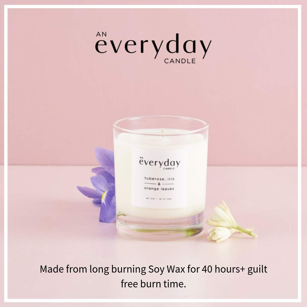 An Everyday Scented Candle - Fragrant Tuberose, Iris & Orange Leaves - in a  Glass Jar - Long Burning Soy-Wax from Our Lovely Aromatic Range - 220g -