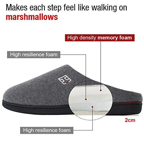 HomeIdeas Men's Cotton Memory Foam Anti-Slip Slip On House Slippers (Small / 7-8 D(M) US, Gray) by HomeIdeas (Image #3)