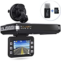 [Upgraded Version] Aisino Dash Camera Car DVR and Radar Detector 2 in 1 Driving Recorder Mute Function with G-Sensor, Loop Recording, Motion Detection, 16GB TF card