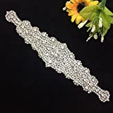 Crystal Rhinestone Wedding Bridal Party Sash Belt = in Ivory Satin Sash