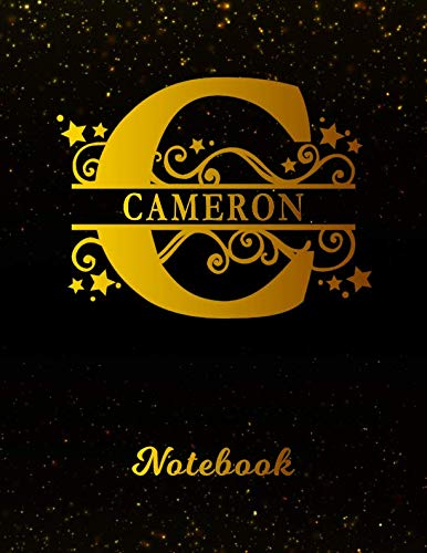 Cameron Notebook: Letter C Personalized First Name Personal Writing Notepad Journal | Black Gold Glittery Pattern Effect Cover | College Ruled Lined ... Taking | Write about your Life & Interests