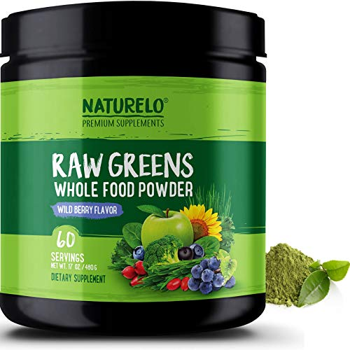 NATURELO Raw Greens Superfood Powder - Best Supplement to Boost Energy, Detox, Enhance Health - Organic Spirulina & Wheat Grass - Whole Food Vitamins from Fruit & Vegetable Extracts - - Fruit Green Powder