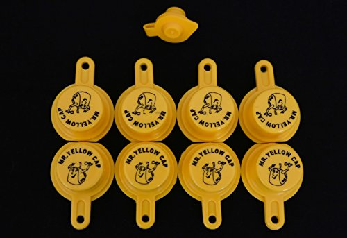 Yellow Gas Can Cap That Fits Your Vintage Blitz Spout - 8 Single Caps & 1 FREE - Fuel Cans Blitz