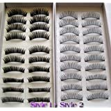 SODIAL(TM) 20 Pairs Regular Long and Thick Eyelashes Style 1 and 2