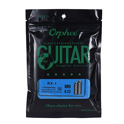 Getaria GE-MGS-RX-1-1ST-E-02 Single String Replacement for Electric Guitar 1st E-String (.009) 10-Pack Nickel Alloy Super Light Tension