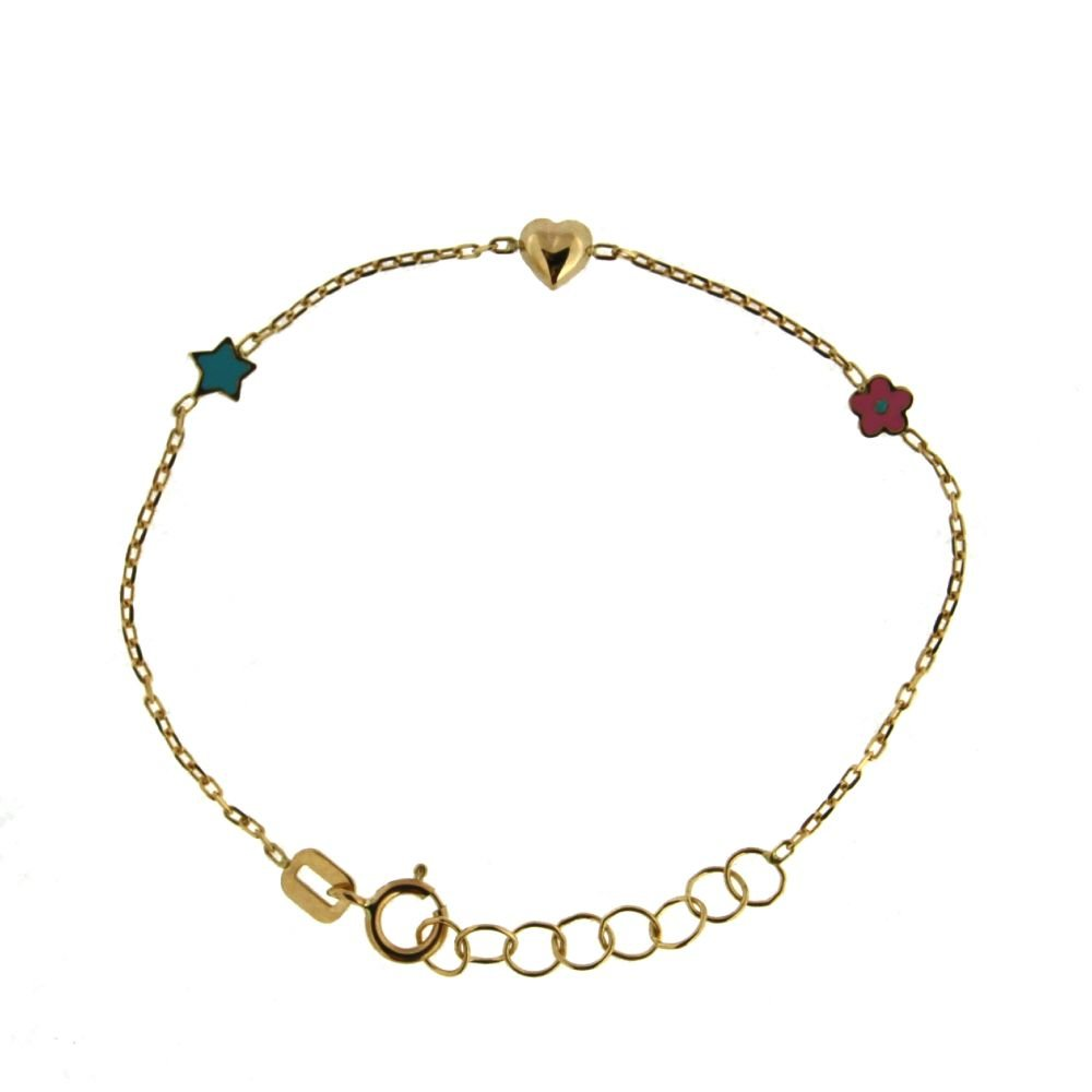 18k Yellow Gold Blue and Pink tiny one side enamel stars and polished center heart bracelet 5.6 inch with extra rings starting at 4.8 inch