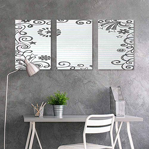 Canvas Print Artwork Sticker,Doodle,Back to School Theme Hand Drawn Style Border with Stars Flowers and Swirls,for Home Decoration Wall Decor 3 Panels,16x31inchx3pcs,Black Pale Blue Pink