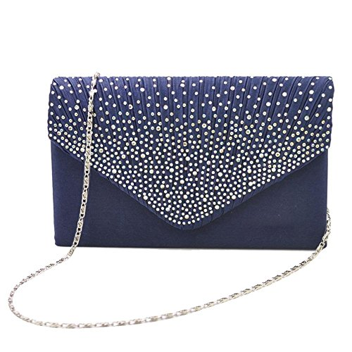 Handbag Evening Prom with Clutch Envelope Dark Satin Women's for Wedding Blue Party Pleated Bag Rhinestone v0q7wS