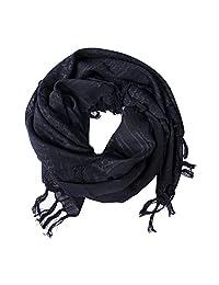 Premium Shemagh Head Neck Scarf 100% Cotton Military Tactical Keffiyeh Wrap Arab Fabric Black