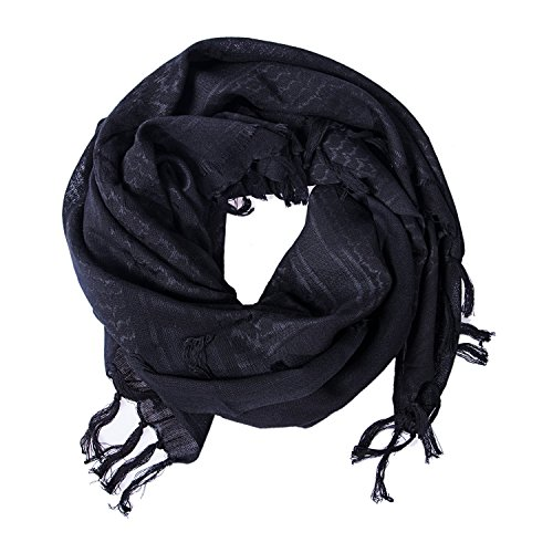 MiaoMa Premium Shemagh Head Neck Scarf 100% Cotton Military Tactical Keffiyeh Wrap Arab Fabric Black (Shemagh Desert Wear)