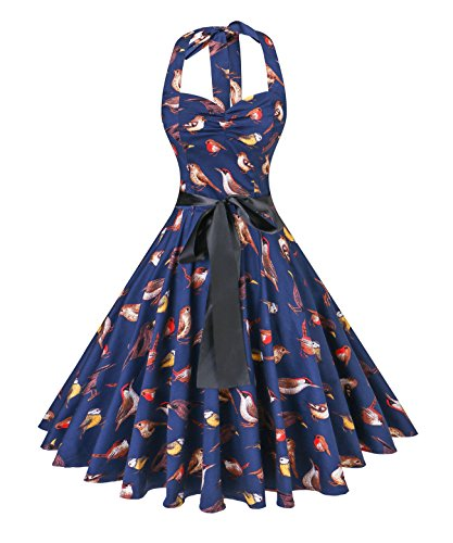 v fashion Women's Vintage 1950s Halter Neck Polka Dot Audrey Hepburn Dress 50s Retro Swing Dresses With Belt,Bird/Navy,Medium -