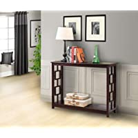 Pilaster Designs - Wood Entryway Console Sofa Occasional Table - Dark Cherry Finish