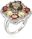 Sterling Silver Cushion Shape Smokey Quartz Oval Shape Garnet and Citrine with Round Created White Sapphire Cocktail Ring
