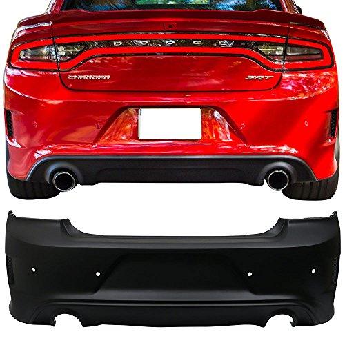 Rear Bumper Cover Fits 2015-2018 Dodge Charger | SRT Style Rear Bumper Lip Diffuser Guard Conversion Unpainted Black PP by IKON MOTORSPORTS | 2016 2017