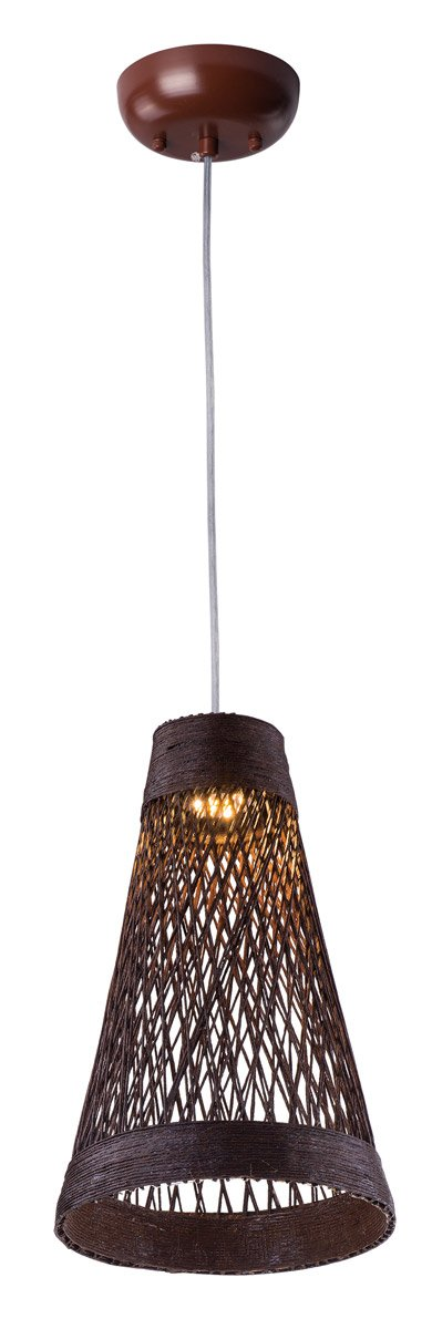 Maxim 54370CH Bahama 1-Light Pendant, Chocolate Finish, Glass, PCB LED Bulb , 2.8W Max., Dry Safety Rating, 3000K Color Temp, Standard Triac/Lutron or Leviton Dimmable, Shade Material, 4312 Rated Lumens