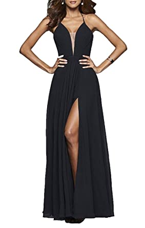 Sisidress Womens Deep V Neck Prom Dresses Open Back Slit Chiffon Evening Gowns Black 2