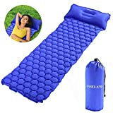 EASELAND Ultralight Lightweight Sleeping Pad with Pillow for Camping Inflatable Sleeping Mat for Backpacking Hiking Outdoors(Blue) For Sale