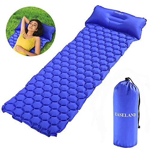 EASELAND Ultralight Lightweight Sleeping Pad with Pillow for Camping Inflatable Sleeping Mat for Backpacking Hiking Outdoors(Blue)