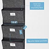 Over The Door Hanging Organizer,Wall Mount Fabric Collapsible File and Magazine Storage Folder Holder Document Bag 6 Pockets Black Grey Beige