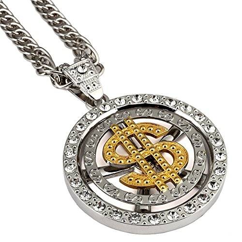 Chain Spinner (Men's Spinner Dollar Round Pendant Necklace Vintage Rock Punk Style Hip Hop Jewelry 18K Gold Plated CZ Curb Chains 31.5 Inch)