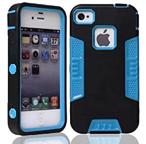 Topforcity? E Hybrid High Impact Soft TPU + Hard PC Case Cover for Apple iphone 4/4S with Stylus Pen(Black+Blue)