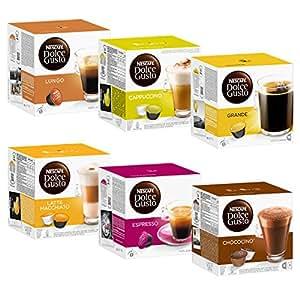 Nescafé Dolce Gusto Set Basic: Lungo, Cappuccino, Latte Macchiato, Espresso, Chococino, Crema Grande, 6 x 16 Cápsulas