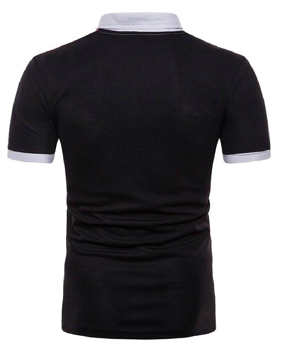 shinianlaile Mens Casual Color Block Polo Shirt Short Sleeve Button-Down T-Shirt
