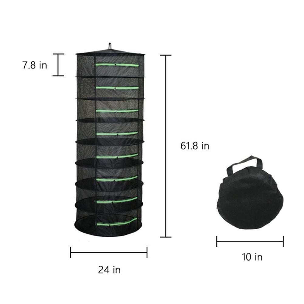 Gr/üner Rei/ßverschluss 4 Lagen 01 Schwarz Noir Dough.Q 4//6//8 Filet de s/échage Pliable en Maille Filet pour Suspendre leau Culture Tent Herb Bud Plant S/échage Rack Net