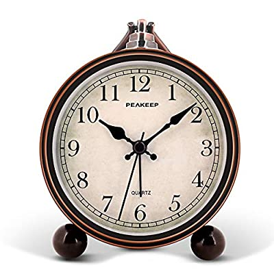 "Peakeep 4"" Battery Operated Antique Retro Analog Alarm Clock, Small Silent Bedside Desk Gift Clock - This vintage retro alarm clock is 4 inches in diameter, metal frame antique design will add funky retro decorative feel to your bedroom, bedside, bookcase, TV table, fireplace mantle etc. Quartz analog clock offers a very silent non-ticking movement and accurate time. This bedside alarm clock has a beep noise that starts out at one pace and progressively get faster and louder in 4 stages. A big alarm switch ensures you turn the alarm on/off easily. - clocks, bedroom-decor, bedroom - 51PivSEKo5L. SS400  -"