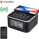 InstaBox W33 Wireless Charging Alarm Clock Radio with Bluetooth Dual Speakers, FM Radio, USB Charging Port, AUX-in, Snooze, 4 Dimmer for Bedroom, Kitchen, Hotel, Desk