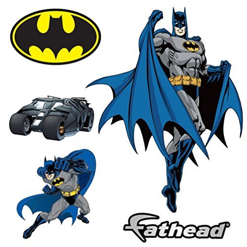 Batman DIY Pre-Cut Wall Sticker Pack | Self Adhesive Peel & Stick Decals for Boys Room Decor, Pack of 09 Stickers]()