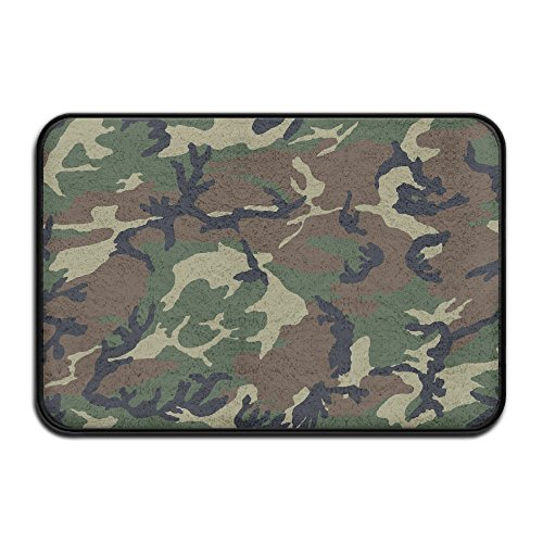 Coral Velvet Bathmat Absorbent Bath Rugs 17x24 Inch Memory Foam Bath Mats With Anti-Skid Bottom - Army Camouflage ()