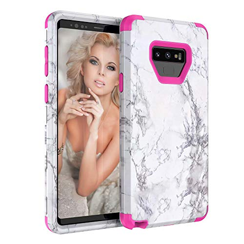 Price comparison product image Buybuybuy Galaxy Note 9 Case,  Granite Marble Contrast Color PC Hard Phone Cover Hybrid Shockproof Hard Back Durable Bumper Protective Phone Case Cover for Samsung Galaxy Note 9 (2018) (hot pink)