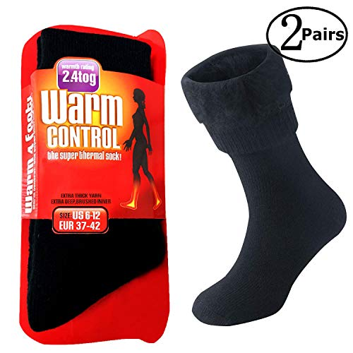 Womens Thermal Socks (Extreme Temperatures Thermal Socks 1/2 Pairs–Thick Heat Trapping Insulated Heated Boot Socks–Warm Winter Crew Socks For Cold Weather (Black-2 Pairs-Women))