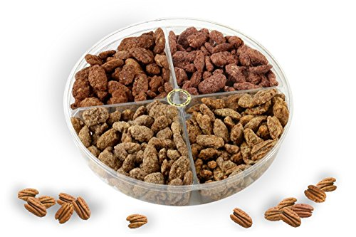 Candied Pecan Gift tray 4 Delicious Flavors, Maple, Cinnamon, Toffee, (Maple Appetizer Tray)