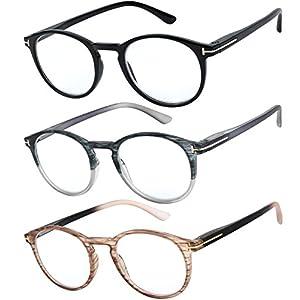 Reading Glasses Set of 3 Great Value Quality Readers Spring Hinge Glasses for Reading Men and Women +2