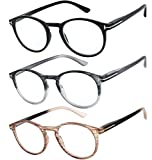 Reading Glasses Set of 3 Great Value Quality Readers Spring Hinge Glasses for Reading Men and Women +1.25