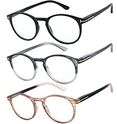 Reading Glasses Set of 3 Great Value Quality Readers Spring Hinge Glasses for Reading Men and Women +1.5