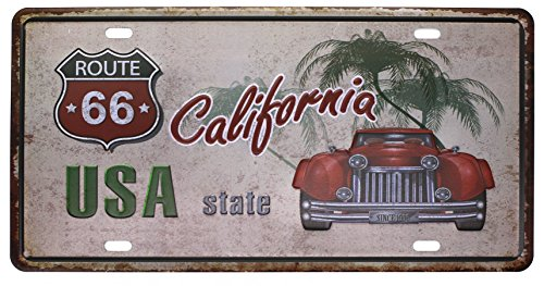 USA State California ROUTE 66 Metal Tin Sign, Vintage Plaque License Plate Home Wall Decor ,6x12 - Metal Sign Route Tin 66