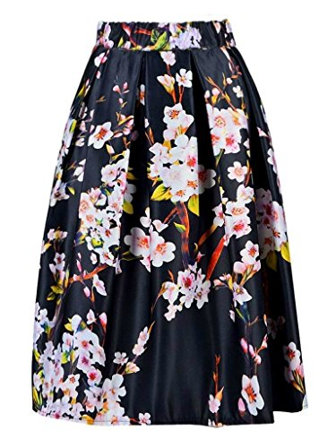 Alaroo Women's Cherry Blossoms Black Cute Flared Midi Skirt (Cherry Black Blossom)