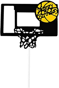 Gold Happy Birthday Cake Topper with Basketball Stand Pattern for Party Decoration Supplies