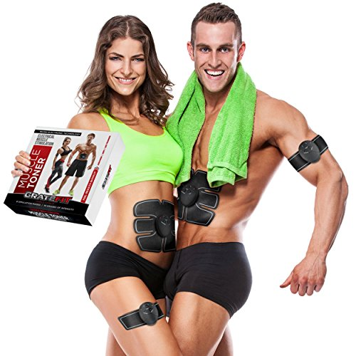 Gratefit Muscle Toner - Portable Abdominal Toning Belt Stimulator –Exercise Equipment For Women Men Ab Fitness - Fit Body/Abs/Arm/Leg/Thigh Workout - EMS Abdomen Machine Trainer With 10 Extra Gels