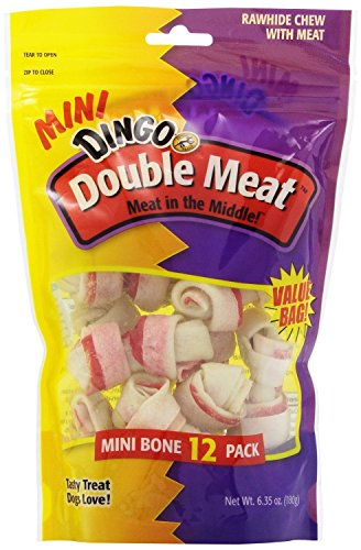 Double Meat Dog Bone - Dingo Goof Balls Chicken and Rawhide Snack Chew for Dogs (12-Count; Double Meat Bones)