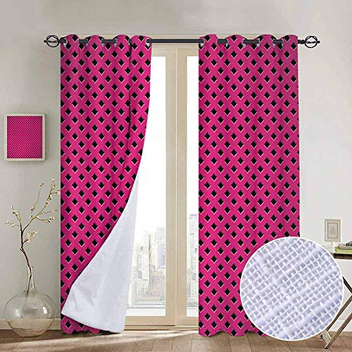NUOMANAN Blackout Curtains Magenta,Diamond Line Grill Wire Design Logo Digital Motif Illustration Print,Black Fuchsia,Thermal Insulated Panels Home Décor Window Draperies for Bedroom a52 x72 ()