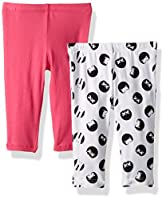 Flapdoodles Baby 2 Pack Girls Printed and Solid Legging, hot Pink, 12 Months