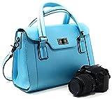 Purple Relic: Small DSLR Camera Bag for Women; 8-Pocket Ladies Handbag with Removable Camera Case (Blue)