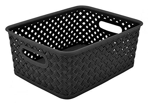 Simplify's Small Resin Wicker Storage Bin in Black (Black Wicker Storage Baskets)