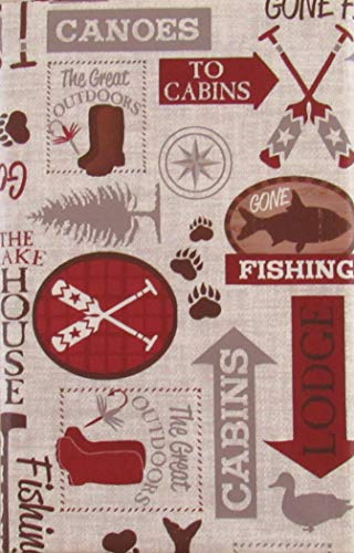 (Lodge Gone Fishing Vinyl Flannel Back Tablecloth (60